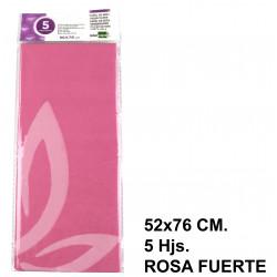 Papel de seda liderpapel en formato 52x76 cm. de 18 grs/m². color rosa fuerte, bolsa de 5 hojas.
