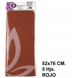 Papel de seda liderpapel de 52x76 cm. en color rojo, bolsa con 5 hojas.
