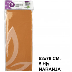 Papel de seda liderpapel en formato 52x76 cm. de 18 grs/m². color naranja, bolsa de 5 hojas.