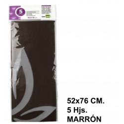 Papel de seda liderpapel en formato 52x76 cm. de 18 grs/m². color marrón, bolsa de 5 hojas.