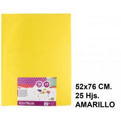 Papel seda liderpapel en formato 52x76 cm. de 18 grs/m². color amarillo, paquete de 25 hojas.