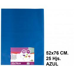 Papel seda liderpapel en formato 52x76 cm. de 18 grs/m². color azul, paquete de 25 hojas.