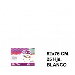 Papel seda liderpapel en formato 52x76 cm. de 18 grs/m². color blanco, paquete de 25 hojas.
