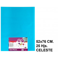 Papel seda liderpapel en formato 52x76 cm. de 18 grs/m². color celeste, paquete de 25 hojas.