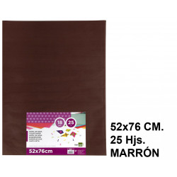 Papel seda liderpapel en formato 52x76 cm. de 18 grs/m². color marrón, paquete de 25 hojas.