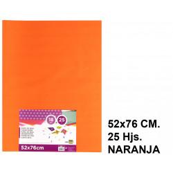 Papel seda liderpapel en formato 52x76 cm. de 18 grs/m². color naranja, paquete de 25 hojas.