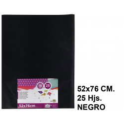 Papel seda liderpapel en formato 52x76 cm. de 18 grs/m². color negro, paquete de 25 hojas.