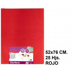 Papel seda liderpapel en formato 52x76 cm. de 18 grs/m². color rojo, paquete de 25 hojas.