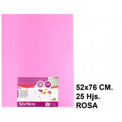 Papel seda liderpapel en formato 52x76 cm. de 18 grs/m². color rosa, paquete de 25 hojas.