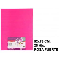 Papel seda liderpapel en formato 52x76 cm. de 18 grs/m². color rosa fuerte, paquete de 25 hojas.