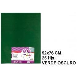 Papel seda liderpapel en formato 52x76 cm. de 18 grs/m². color verde oscuro, paquete de 25 hojas.
