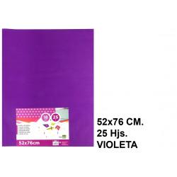 Papel seda liderpapel en formato 52x76 cm. de 18 grs/m². color violeta, paquete de 25 hojas.