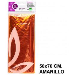 Papel celofán liderpapel en formato 50x70 cm. de 22 grs/m². color amarillo, bolsa de 5 hojas.