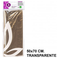 Papel celofán liderpapel en formato 50x70 cm. de 22 grs/m². color transparente, bolsa de 5 hojas.