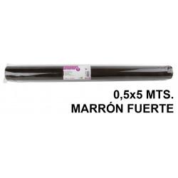 Tela sintética de terileno liderpapel en formato 0,5x5 mts. de 25 grs/m². color marrón fuerte.