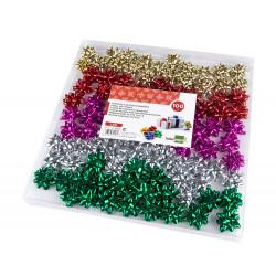Lazo de fantasía adhesivo liderpapel en formato de 4 cm. colores surtidos metalizados, caja de 100 uds.
