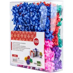 Lazo de fantasía adhesivo liderpapel en formato de 4 cm. colores surtidos pastel, caja de 100 uds.