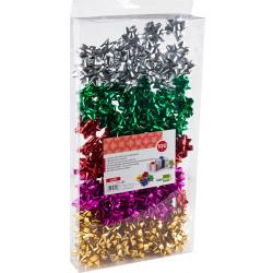 Lazos fantasía Liderpapel adhesivos para regalo en colores surtidos metálizados, caja de 100 unidades.
