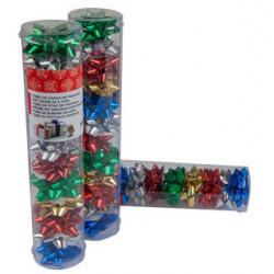 Lazo de fantasía adhesivo liderpapel en formato de 4 cm. colores surtidos metalizados, tubo de 12 uds.