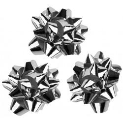 Lazo de fantasía adhesivo liderpapel en formato de 5,5 cm. color plata metalizado, caja de 100 uds.