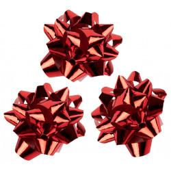 Lazo de fantasía adhesivo liderpapel en formato de 5,5 cm. color rojo metalizado, caja de 100 uds.
