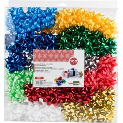 Lazo de fantasía adhesivo liderpapel en formato de 6,5 cm. colores surtidos metalizados, caja de 100 uds.