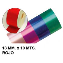 Cinta de fantasía eurocinsa en formato 13 mm. x 10 mts. color rojo.