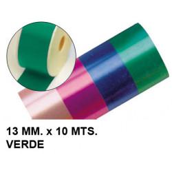 Cinta de fantasía eurocinsa en formato 13 mm. x 10 mts. color verde.
