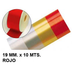Cinta de fantasía eurocinsa en formato 19 mm. x 10 mts. color rojo.