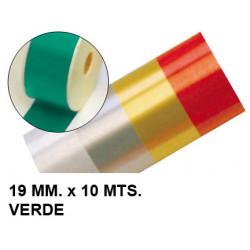 Cinta de fantasía eurocinsa en formato 19 mm. x 10 mts. color verde.