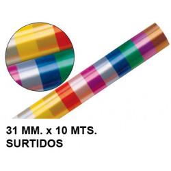 Cinta de fantasía eurocinsa en formato 31 mm. x 10 mts. colores surtidos.