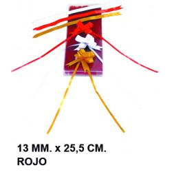Cinta de fantasía eurocinsa en formato 13 mm. x 25,5 cm. color rojo, caja de 100 uds.