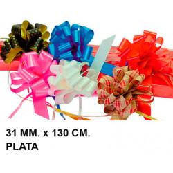 Cinta de fantasía eurocinsa en formato 31 mm. x 130 cm. color plata, caja de 50 uds.