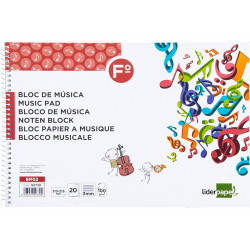 Cuaderno espiral de música liderpapel en formato fº apaisado, 8 pentagramas con interlineado de 3 mm. 20 hj. 100 grs/m².