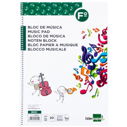 Cuaderno espiral de música liderpapel en formato fº apaisado, 12 pentagramas con interlineado de 3 mm. 20 hj. 100 grs/m².