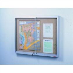 Vitrina de anuncios de corcho visto con puertas correderas planning sisplamo de 90x100x7 cm.