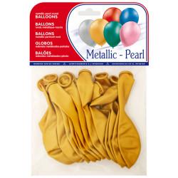 Globo balloons® cp redondo de látex 100%, color metalizado oro, bolsa de 15 uds.
