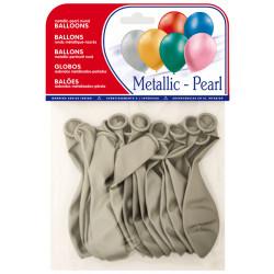 Globo balloons® cp redondo de látex 100%, color metalizado plata, bolsa de 15 uds.