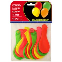 Globo balloons® cp redondo de látex 100%, colores fluorescentes surtidos, bolsa de 15 uds.