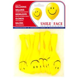 Globo balloons® cp redondo de látex 100%, con el dibujo de una cara sonriente, bolsa de 8 uds.
