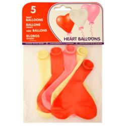 Globo balloons® cp en forma de corazón de látex 100%, colores pastel surtidos, bolsa de 5 uds.