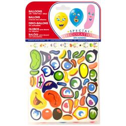 Globo balloons® cp alargado / semiplano de látex 100%, con pegatinas, colores surtidos, bolsa de 12 uds.