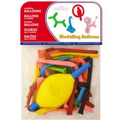 Globo balloons® cp alargado de látex 100%, + inflador, colores surtidos, bolsa de 10 uds.