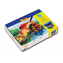 Témpera escolar jovi, estuche de 12 botes de 35 ml. en colores surtidos + pincel.