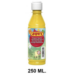 Témpera escolar líquida jovi, botella de 250 ml. color amarillo.
