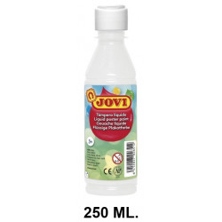 Témpera escolar líquida jovi, botella de 250 ml. color blanco.