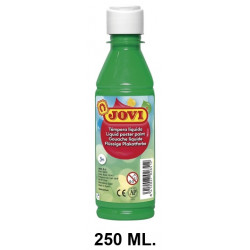Témpera escolar líquida jovi, botella de 250 ml. color verde medio.