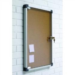 Vitrina de anuncios de corcho visto con puerta abatible planning sisplamo 70x75x3,5 cm.