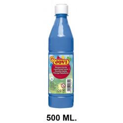 Témpera escolar líquida jovi, botella de 500 ml. color azul cyan.