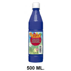 Témpera escolar líquida jovi, botella de 500 ml. color azul oscuro.